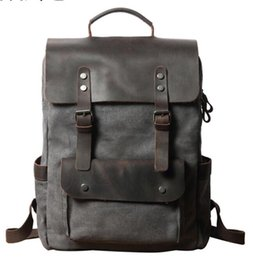 england college backpack Promo Codes - Waterproof Canvas Vintage Backpack Men Large Travel Rucksack Laptop Bag Real Cow Leather Bagpack College Students School Bookbag