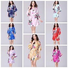 Kimono ropa interior ropa de dormir online-12 colores de las mujeres atractivas de seda japonesa Kimono túnica pijamas camisón de dormir flor rota Kimono ropa interior ropa para el hogar CCA10956 12 unids