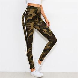 Leggings de camuflaje online-Camo SweatyRocks Cinta de impresión Polainas laterales Nueva moda Multicolor Rayas Mujer Pantalones Elásticos Leggings largos para ejercicios