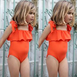 I bambini delle neonate bella arancione vestito di nuoto dei bambini del costume da bagno Beachwear Età 6M-5Y da