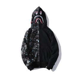 Herren-jacke mit kapuze online-Mens Designer Hoodie Hip Hop Marke Reißverschluss Jacke Hoodie für Jugend Streetwear Pullover Männer Fashion Style Star Shark Print Mantel