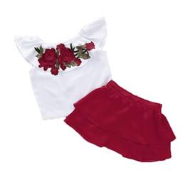 Argentina Kids Girl Minifalda Conjuntos Rosa bordado Lotus Leaf Collar Sin mangas Camiseta Niños Cintura elástica Sólido Falda de una línea Trajes de dos piezas Suministro