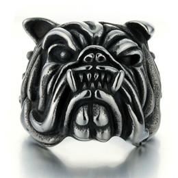 jóias anéis de cão Desconto Jóias da moda Homens Anel Do Punk Do Vintage Anéis de Prata Antigo Bulldog desinger Anéis de Luxo de Rock Retro Na moda hip hop Cabeça de cão anel masculino