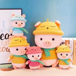 Grandi bambole di maiale ripiene online-25 cm bella grande sciarpa maiale peluche giocattoli animali di peluche bambola morbida simpatico cartone animato morbido cuscino cuscino migliore regalo per i bambini giocattoli per bambini
