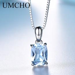 UMCHO Solide 925 Sterling Silber Anhänger Halskette Edelstein Sky Blue Topaz Halskette Romantische Hochzeitsgeschenke Für Frauen Edlen Schmuck von Fabrikanten