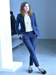 Custom Navy Blue Women Business Suits Office Uniform Styles Ladies Elegant Pant Suits Female Formal Work Wear 2 Piece Set от