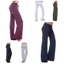 pantaloni yoga sparato Sconti pantaloni Le donne di yoga con bottoni tasca collant alla moda di sport fitness Streetwear Pantaloni Flare Pant fondi LJJA3301-4