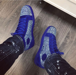 2021 chaussures classiques en daim ORIGINALS bon marché Blue Strass Sude Sneakers Sneakers Classic Marque Hommes Femmes Red Bottom Chaussures Fashion Man Skateboard Casual Chaussures 35-47