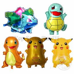 fire toys Coupons - 2019 Bigger Pikachu Jenny Turtle Miao Frog Seed Small Fire Dragon Aluminum Balloon Cute Animal Air Balloon Four Kinds of Picks Kids