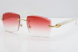 Brazos de gafas de sol online-Venta al por mayor Gafas sin montura Hot Marble White Aztec SunGlasses Hot Metal Mix Arms 3524012 Gafas de sol Unisex cat eye Sunglasses Lente roja