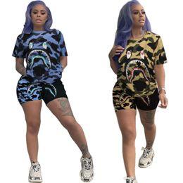 roupas de estilo animal Desconto Conjunto de duas peças Ms moda movimento tendência tubarão Camuflagem impressão Sportswear Lazer splice conjunto Completo de roupas novo estilo