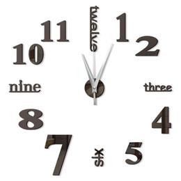 Reloj de pared decorativo grande online-Vintage Digital 3d reloj de pared de cocina de diseño Espejo decorativo auto-adhesivo del reloj de pared grande en la pared del reloj del reloj Nueva Sala