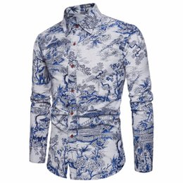 Повседневная одежда для мужчин онлайн-Hot sell 2019 New Spring Autumn Men Casual Shirts Fashion Long Sleeve  Button-Up Formal Business Printing Men Dress Shirts