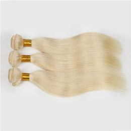 Tessuto vietnamita dei capelli online-Europeo biondo # 613 100% Non Trasformato Remy Tessuto Dei Capelli Umani bianco Biondo Dritto 4 bundles capelli vergini cucire nei capelli Estensioni Spedizione Gratuita