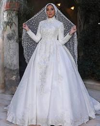 Vestidos de casamento vintage laço muçulmanos on-line-Laço clássico Muçulmano Vestidos de Casamento 2019 Manga Comprida Alta Pescoço Appliqued Mangas Compridas Lace Vestidos De Noiva Uma Linha de Trem Da Varredura Vestido De Novia