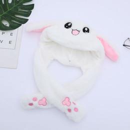 Cappello di coniglio con orecchie in movimento Cappello da coniglio Orecchie Caldo peluche Sweet Cute Airbag Cap da