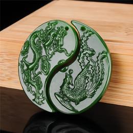 Black Green Jade Dragon Tortoises and Crane Amulet Pendant 024#