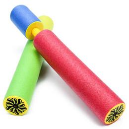 Armas de eva on-line-5 * 35 cm colorido crianças pistola de água série brinquedo de praia de areia puxar tipo eva espuma desenhada pistola de água praia jogar brinquedo bomba