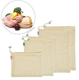 3 unids / set bolsas de productos de algodón reutilizables bolsas lavables ecológicas de primera calidad para el supermercado de compras de frutas y verduras desde fabricantes