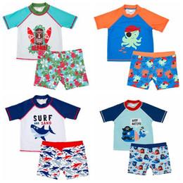 Ropa de los infantes de marina online-Niños bebés traje de baño traje de baño de los niños del bebé tiburón ballena pulpo marino impreso niños ropa de playa de verano ropa 2 unids / set CCA11397 12set