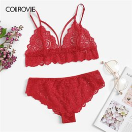 4efe02acf6 wholesale Red Harness Detail Scalloped Trim Lace Lingerie Set Women  Intimates 2019 Fashion Wireless Underwear Ladies Sexy Bra Set