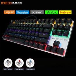 russische englische tastatur schwarz Rabatt Metoo Zero Gaming-Tastatur Russisch / Englisch / Arabisch Mechanische Tastatur 104 Tasten USB verkabelt blau / rot / schwarz