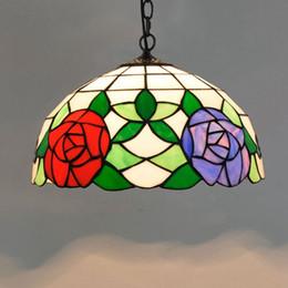 2019 blau geführtes helles licht 12 Zoll American Pastoral Kreative Rot Blau Rose Pendelleuchte Farbe Glaskunst Hängende Leuchte für Wohnzimmer Esszimmer günstig blau geführtes helles licht