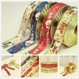 2M / Stück Weihnachtsband-Geschenk-Kasten Dekorative Bogen-Band-Weihnachtsmann Weihnachtsbaum Ornament Bänder Wohnkultur von Fabrikanten