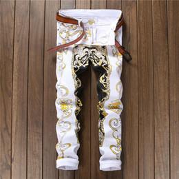 Erkekler Rahat Desen Baskılı Kot Pantolon Erkek Graffiti Baskı Beyaz Hip-Hop Moda Slim Fit Beyaz Pantolon Kot nereden