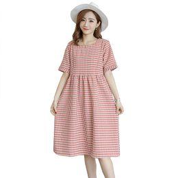 2020 roupa de algodão de linho de maternidade Maternidade de algodão de linho xadrez vestido doce roupas soltas de verão para mulheres grávidas roupas de gravidez vestido roupa de algodão de linho de maternidade barato