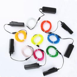 vestiti da filo Sconti 1m / 3m / 5M 3V flessibile luce al neon bagliore EL filo metallico corda cavo striscia LED luci al neon scarpe abbigliamento auto impermeabile led strip