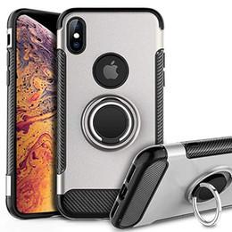 Housses iphone robustes en Ligne-Téléphone Cas Heavy Duty Antichoc Double Couche Armure Renforcée Couvercle Anneau Titulaire pour Nouvel iPhone 11 XS MAX XR X 7/8