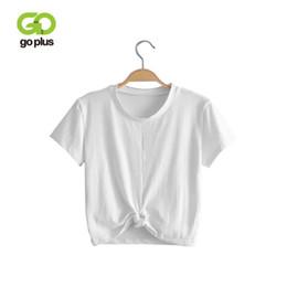 Goplus 2019 Summer Tops Sexy Camiseta de mujer Tie Front O-cuello Camiseta de manga corta Bow Loose Casual Camiseta Mujer Crop Top Y19072001 desde fabricantes