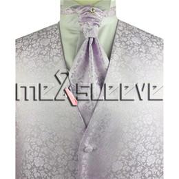 giarrettiera fiocco di gemelli di ascot Sconti spedizione gratuita lavanda floreale formale gilet e cravatta set (vest + cravatta ascot + gemelli + fazzoletto)
