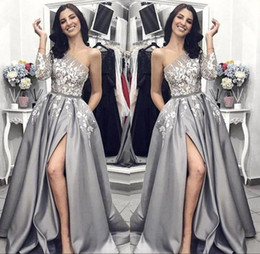 floral satin evening dress Promo Codes - Elegant Silver One Shoulder Long Sleeve Evening Dresses 2019 Floral Appliques Front Split A Line Prom Party Gown BC1410