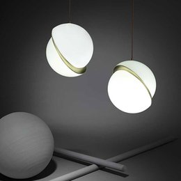 2019 ampoules jaunes bon marché Nordic moderne boule de verre à bulle led pendentif lumière bague en or cuisine salon restaurant chambre suspension lampe