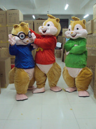 Vente chipmunks en Ligne-Alvin Mascot Et Chipmunks Mascot Taille Adulte Costume Ventes Déguisements Cartoon Appearl Halloween Anniversaire