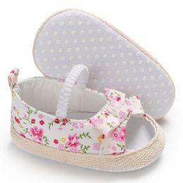 blumen-slip-turnschuhe Rabatt Sommer Prinzessin Baby Mädchen Schuhe Floral Bowknot Slip-on Krippe Turnschuhe Weiche Sohle Neugeborenen Kleinkind Erste Wanderer 0-18 Mt