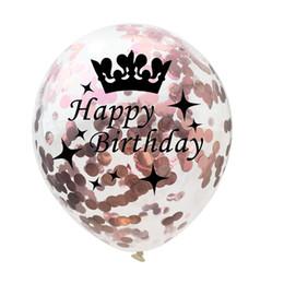Goldkrone dekorationen online-Crown Konfetti Luftballons Rose Gold Serie Folie Latex Helium Star Luftballons, 18 21 30 40 50 Geburtstagsfeier Hochzeitstag Dekoration