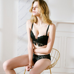 adb44edb53 Soft steel loop sexy half cup lace underwear bra set lovely girl wind small  chest sexy