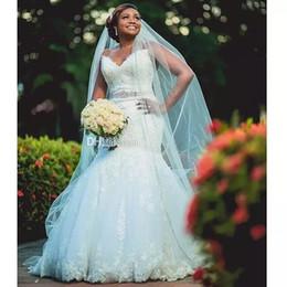 Più il vestito della sposa di formato online-Pizzo Abiti da sposa Mermaid plus size 2019 Sweetheart Africano Abito da sposa nuziale con cintura fascia in rilievo abiti da sposa formale robe de mariee
