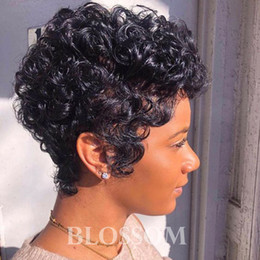 cheap kinky curly afro wigs Promo Codes - Human hair Short Curly wigs for Black Women Cheap Full Lace Brazilian Pixie Cut Afro Kinky Curly Indian Human Hair Wigs New Wigs