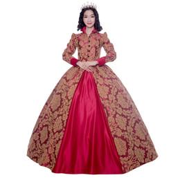 rote viktorianische kleider für frauen Rabatt Edwardian Victorian Gothic Damen PUNK Kleid Kleid Elegant Red Printing Coat