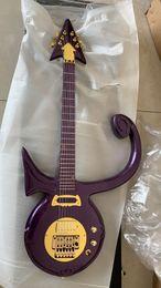 Новый редкий принц любовь символ модель гитара Флойд Роза Тремоло мост золото аппаратные средства на заказ абстрактный символ фиолетовый дождь гитары от Поставщики флойд-гитара
