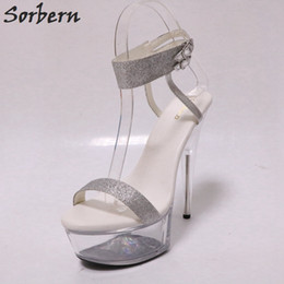 153dfac1f9e vente en gros de paillettes d or Slingback sandales club de nuit pole dance  sandales chaussures à talons transparents plate-forme claire chaussures  femmes ...