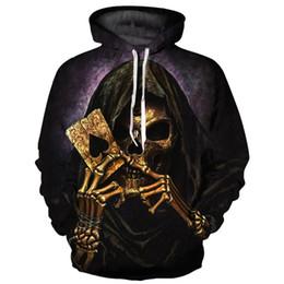 Толстовка в покере онлайн-Mr.1991INC Fashion Hoodies Men/Women 3d Sweatshirt  Clothing 3d Print Metal Golden Poker Skulls Thin Cap Hoody YXQL780