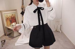 воротник лолита Скидка KYQIAO Лолита рубашка японская школьная форма мори девушки осень милый сладкий с длинным рукавом Питер Пан воротник белый розовый бантом блузка