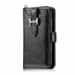 Для iPhone 11 Pro XS MAX XR X 2 в 1 Магнитный съемный съемный кошелек кожаный чехол крышка телефона Samsung S10 S10e Примечание 10 Plus от Поставщики мягкая кожа коричневая линия