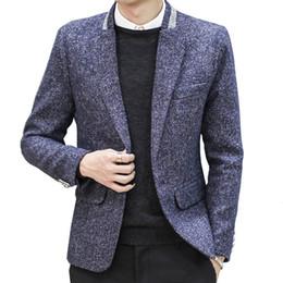 Männer kontrastfarben anzug online-Anzug Herren Herbst und Winter Wolle Wolle Slim Anzugjacke Herren Größe Mode lässig Kontrastfarbe Slim Persönlichkeit Mantel