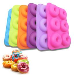 Panelas máquina de lavar louça on-line-Silicone Donut Mold 6-Cavidade Silicone Donut Baking Pan Non-Stick Mould Máquina De Lavar Louça Decoração Ferramentas Bolo De Dough Cozimento Ferramentas